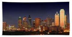 Dallas Skyline At Dusk  Hand Towel