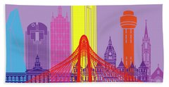 Dallas Skyline Pop Hand Towel by Pablo Romero
