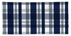 Dallas Sports Fan Navy Blue Silver Plaid Striped Hand Towel by Shelley Neff