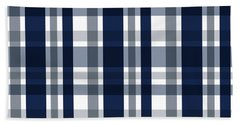 Dallas Sports Fan Navy Blue Silver Plaid Striped Bath Towel by Shelley Neff
