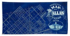 Dallas Texas Official 1875 City Map Blueprint Butterfield And Rundlett Bath Towel