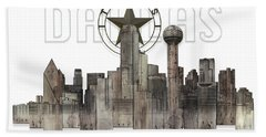 Dallas Texas Skyline Hand Towel by Doug Kreuger