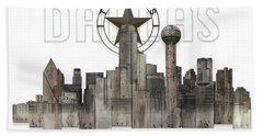 Dallas Texas Skyline Bath Towel by Doug Kreuger