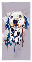 Hand Towel featuring the mixed media Dalmatian Head by Marian Voicu