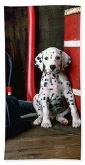 Dalmatian Puppy With Fireman's Helmet  Hand Towel