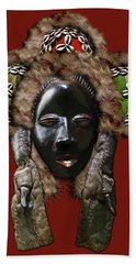 Dan Dean-gle Mask Of The Ivory Coast And Liberia On Red Leather Hand Towel