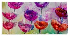 Dance Of Poppies Painting By Lisa Kaiser Bath Towel