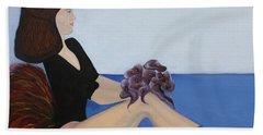 Bath Towel featuring the painting Dancer With Calla Lillies by Jolanta Anna Karolska