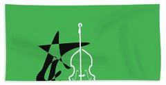 Dancing Bass In Green Hand Towel by David Bridburg