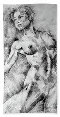 Dancing Girl Drawing Hand Towel