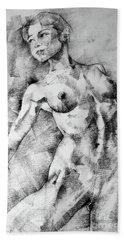 Dancing Girl Drawing Bath Towel