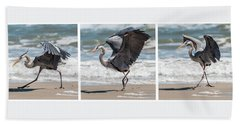 Dancing Heron Triptych Bath Towel