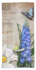 Dancing In The Wind - Damselfly N Morpho Butterfly W Delphinium Hand Towel