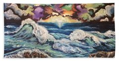 Hand Towel featuring the painting Dancing Skies 3 by Cheryl Pettigrew
