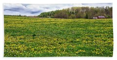 Dandelion Field With Barn Bath Towel