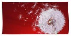 Dandelion Flying On Reed Background Hand Towel
