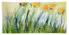 Dandelions On The Grass Bath Towel