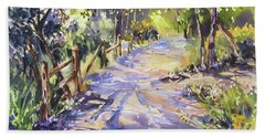 Bath Towel featuring the painting Dappled Morning Walk by Rae Andrews