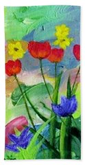 Hand Towel featuring the painting Daria's Flowers by Jamie Frier