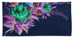 Bath Towel featuring the mixed media Dark Bouquet by Writermore Arts