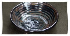 Dark Brown And Red Ceramic Bowl Bath Towel by Suzanne Gaff
