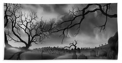 Hand Towel featuring the painting Dark Cemetary by James Christopher Hill
