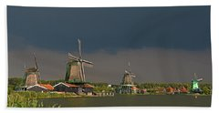 Dark Clouds Above Zaanse Schans Bath Towel