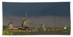 Dark Clouds Above Zaanse Schans Hand Towel