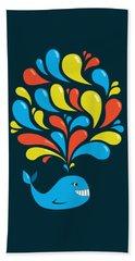 Dark Colorful Splash Happy Cartoon Whale Hand Towel