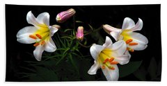 Bath Towel featuring the photograph Dark Day Bright Lilies by Byron Varvarigos