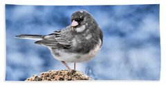 Bath Towel featuring the photograph Dark-eyed Junco by Debbie Stahre