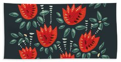 Dark Floral Pattern Of Abstract Red Tulips Hand Towel