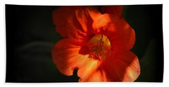 Bath Towel featuring the photograph Dark Flower by AJ Schibig