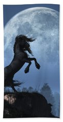 Dark Horse And Full Moon Hand Towel by Daniel Eskridge