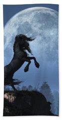 Bath Towel featuring the digital art Dark Horse And Full Moon by Daniel Eskridge