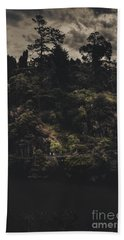 Dark Landscape Photograph Of Distant People Hiking Hand Towel