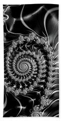 Dark Spirals - Fractal Art Black Gray White Bath Towel