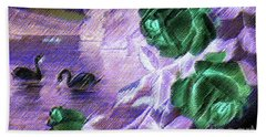 Bath Towel featuring the mixed media Dark Swan And Roses by Writermore Arts