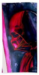 Hand Towel featuring the drawing Darth Vader Illustration Edition by Justin Moore