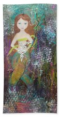Hand Towel featuring the mixed media Daughter Of The Sea by Virginia Coyle