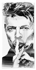 David Bowie Bw Hand Towel by Mihaela Pater