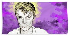 Hand Towel featuring the drawing David Bowie by Jason Tricktop Matthews