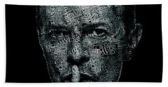 David Bowie Text Portrait - Typographic Face Poster Created With All The Album Titles By David Bowie Bath Towel