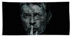 David Bowie Text Portrait - Typographic Poster With Album Titles And Background With Songs Names Bath Towel