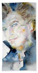 David Bowie - Watercolor Portrait.9 Hand Towel