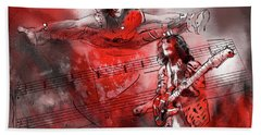 David Lee Roth And Eddie Van Halen Jump Hand Towel by Miki De Goodaboom