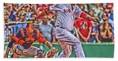 David Ortiz Boston Red Sox Oil Art 1 Hand Towel