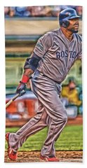 David Ortiz Boston Red Sox Oil Art 2 Hand Towel