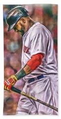 David Ortiz Boston Red Sox Oil Art 4 Hand Towel