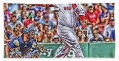 David Ortiz Boston Red Sox Oil Art 5 Hand Towel